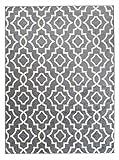 Orientalisches Marokkanisches Teppich - Dichter und Dicker Flor Modern Designer Muster - Ideal Für Ihre Wohnzimmer Schlafzimmer Esszimmer - Grau Weiß - 80 x 150 cm Casablanca Kollektion von Carpeto