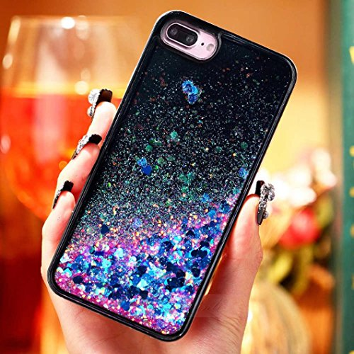 Ouneed® For iPhone 7 Plus Hülle, 3D Dynamic Liquid Quicksand Glitter Star Heart Case Cover für iPhone 7 Plus 5.5 Zoll (5.5 Zoll, A) C