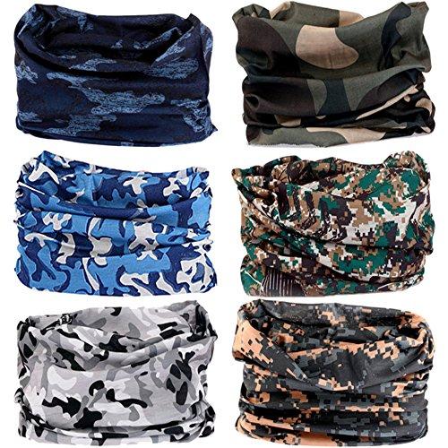 VANCROWN 9& 6mit Kopfbedeckungen, Haarband Schal Tuch Headwrap Maske Neckwarmer & More 12-in-1Multifunktional dehnbar Sport & Casual, 6PC.Camouflage Series.2 Headwrap Tuch