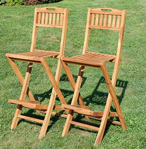 ASS 2Stück Teak Design Barhocker Bistrohocker Bistrosessel Barsessel Sessel Holzsessel Gartensessel Gartenmöbel Holz Modell: JAV-BIMA-KLAPPBAR von