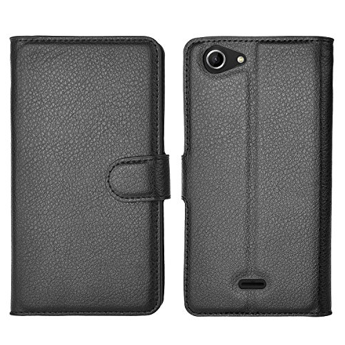 Wiko Pulp 3G Hülle,IVSO Hohe Qualität Case Folio Tasche Cover-mit Standfunction,ist für Wiko Pulp 3G Smartphone (12,7 cm (5 Zoll), Schwarz