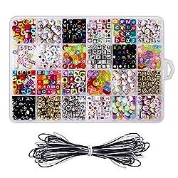PAMIYO DIY Armband Buchstaben Perlen Acryl A-Z Cube Alphabet Bastelperlen für Armbänder, Halsketten Kunsthandwerk Machen Kinderschmuck - 24 Fächer
