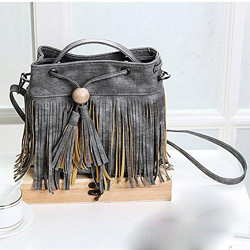 Longra Donne Perle nappe borse a spalla in legno Grigio