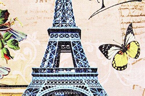 Kissenbezug Klara 40x40cm Sofa Kissenhülle Eifelturm Paris Postkarte Shabby Vintage Briefmarke French Chic alte Schrift Nostalgie Kissen Dekokissen - 3