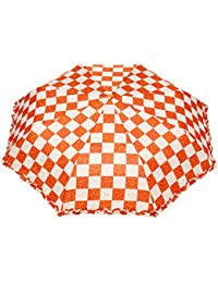 FabSeasons Checkered / Checks Printed 3 Fold Semi Automatic Umbrella For Rains And All Seasons