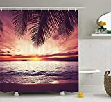 KRISTI MCCARTNEY Palm Tree Decor Shower Curtain by, Tropical Beach Under Shadow at Sunset Ocean Waves Serenity in Natural Paradise, Polyester Fabric Bathroom Set with Hooks, 70 inches, Purple