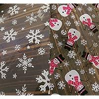 MHA UK branded Christmas Snowflake/Snowman cellophane sweet, chocolate goody bags festive xmas (Snowflake)