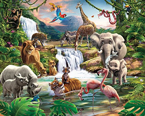 fototapete kinderzimmer jungen Walltastic WT4016 Dschungelabenteuer, Tapete, Wandbild, bunt, 52.5 x 7 x 18.5 cm