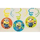 amscan 9907319 - Spirali Decorative Despicable Minions, 6 Pezzi, Lunghezza Circa 45 cm, Decorazione da Appendere, per Feste d