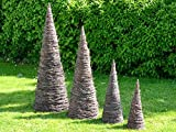 Nature LOUNGE Weidenkegel 60 cm/Ø 20 cm - Weidenpyramide Dekokegel Gartenobelisk Weidengeflecht Dekoration - Handmade in EU -