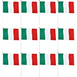 LIOOBO 50 Bandiera Italiana Sventolante Bandiera Tricolore con Frammenti su Bastoncini per Decorazione da Giardino Casa Decor