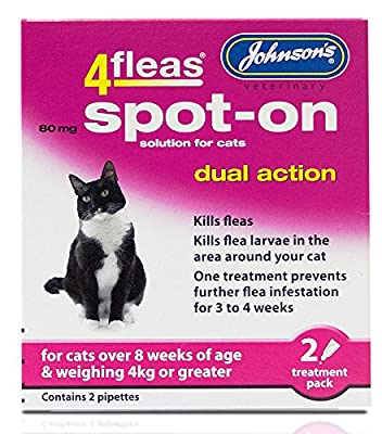 Johnsons 4Fleas Dual Action Spot On for Cats and Kittens (Cats Over 4kg) from Johnsons
