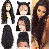 Helene Glueless Lace Front Wig Swiss Lace Part Handmade Natural Water Wave Long Synthetic Wigs For Women Heat Resistant High Temperature Fiber Natural Hairline with Baby Hair (22 Inches Black Color)
