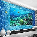 Fushoulu Benutzerdefinierte 3D Stereoskopischen Raum Unterwasserwelt Blue Water Cube Foto Wandbild Vliestapete Wohnzimmer Tv Sofa Hintergrund Wandbild-150X120Cm