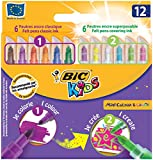BIC KIDS Zauber-Fasermaler Mini COLOUR und CREATE, Strichstärke: 1,0 mm, 12 Farben sortiert, Kartonetui  12 Stück