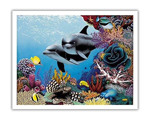 Pacifica Island Art Treasures-Hawaiian Spinner Delfine (Nai A)-Ursprüngliche Farbe Malerei von Mark Mackay-Hawaiian Fine Art Print 11
