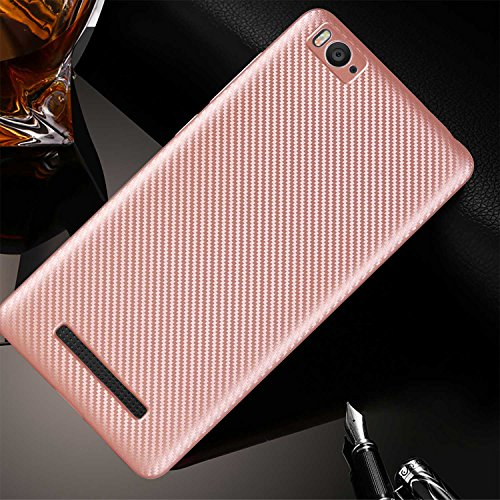 Guran® Hülle Für Xiaomi Mi 4i, Hohe Qualität Raffinierte aus Rutschfestem TPU Weich Case Kohlefaser Elastisch Kratzfeste Etui (Roségold)