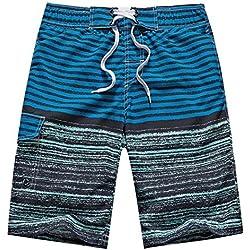 TailorPal Love - Pantalones de Natación Cortos Suaves Bañador con Rayas Verano Playa Vacaciones Hombre - Azul Oscuro EU S