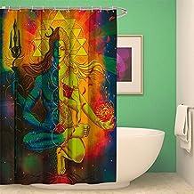 """Custom Creative India Bohemia Tribal naturaleza decoración de cortina de ducha de baño arte impresión impermeable anti moho tela poliéster cortinas de baño conjuntos con libre ganchos ylb06, poliéster, Bodhisattva 4, 72"""" W * 72"""" H"""