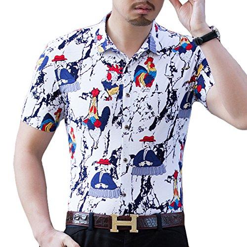 4dc2a7e4000b ... YOUTHUP Herren Sommerhemd Hawaiihemd Kurzarm Hemd Blatthemd Freizeit  Hemd Besonders für Reise Urlaub Design 5 ...