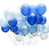 PuTwo Bleu BlancBallon,100pcs12 Pouces Bleu MarineBallon BaudrucheBleu Ciel BlancBallons Latexpour Decoration Bapteme Garcon, Cinderella Deco, Déco Anniversaire 1 an Garçon, Frozen Decoration