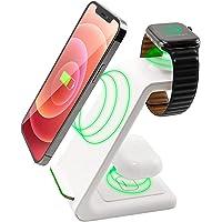 3 in 1 Wireless Ladestation Weiss White Edition - All in One - für Apple Watch 6/5/4/3/2/SE, AirPods Pro/2, für iPhone…