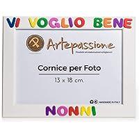 Cornici per foto in legno con la scritta Vi Voglio Bene Nonni, da appoggiare o appendere, misura 13x18 cm Bianca. Ideale…