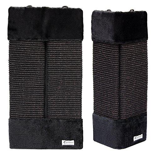 eyepower Graffiatoio per Gatti ca 55x27cm in sisal e peluche protezione angoli pareti mobili | Tiragraffi per affilarsi gli artigli | Nero - Corda Angolo