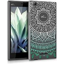 """kwmobile Funda para Wiko Ridge Fab 4G (5.5"""") - Case de cristal plástico para móvil - Cover trasero Diseño sol indio en menta blanco transparente"""