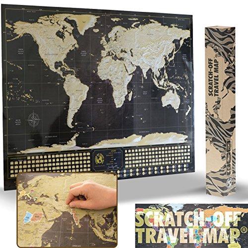 (Deluxe Scratch off World Map Poster – mit Country Flaggen und der World 's 50 meistbesuchten Sehenswürdigkeiten, Ihre Abenteuer (schwarz & gold mit Silber-Berge – 83,8 x 58,4 cm))