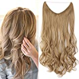 20' Extension Cheveux Ondulé Fil Invisible Fils Transparent Monobande - Extension Cheveux Synthétique 50CM(20 pouces) - Hair Extensions - Blond Cendré