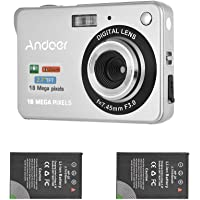Andoer Digital Camera with 2pcs Batteries, 720P HD 18MP 8X Zoom Compact Camera with…