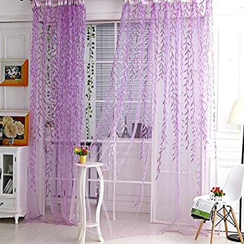 YOOYOO Willow Pattern Voile Tulle Room Window Screening Curtain Sheer Panel Drapes (light purple)