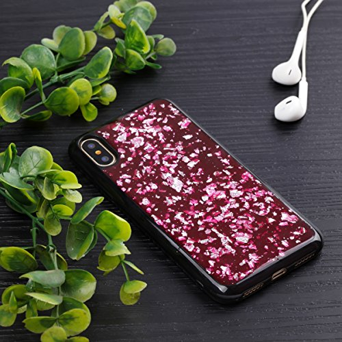 iPhone X Custodia, iPhone X Cover, iPhone X Custodia Silicone, JAWSEU Moda Stile Lusso Cristallo di Bling Brillante Sparkle Glitter Ultra Sottile Custodia per iPhone X Back Cover Case Flessibile Gomma Nero, Bling Rosso