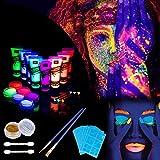 Lictin 8 x Peinture Corporelle-Kit de Peinture fluorescente UV Non Toxique Neon Pour Lumière Noire Avec 6*5,5g de face painting palette, 2*poudre flash, 3*crayons fluorescents, 4*pinceaux...