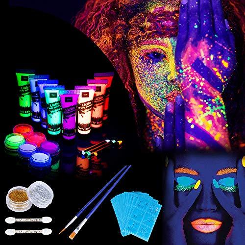 Lictin 8 x Peinture Corporelle-Kit de Peinture fluorescente UV Non Toxique Neon Pour Lumière Noire Avec 6*5,5g de face painting palette, 2*poudre flash, 3*crayons fluorescents, 4*pinceaux