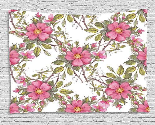 MLNHY Flower Tapestry, Watercolor Dog Rose Garden Pattern with Leaves and Buds Image, Wall Hanging for Bedroom Living Room Dorm, 80 W X 60 L Inches, Light Pink White and Lime Green