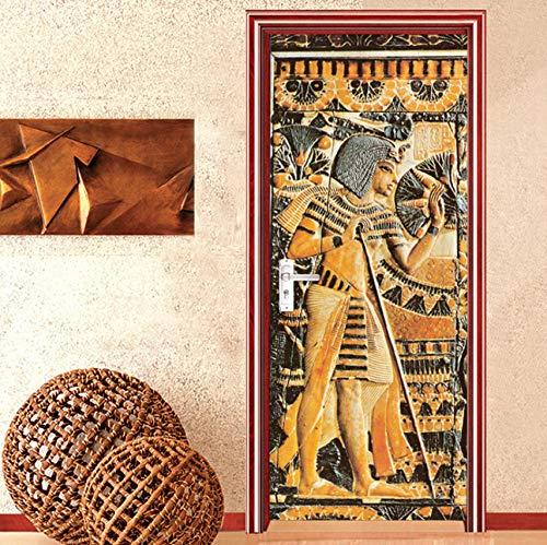 Aufkleber Europäischen Stil Retro 3D Relief Ägyptischen Pharao Statue Portrait Tapete PVC Selbstklebende Tür Aufkleber ()