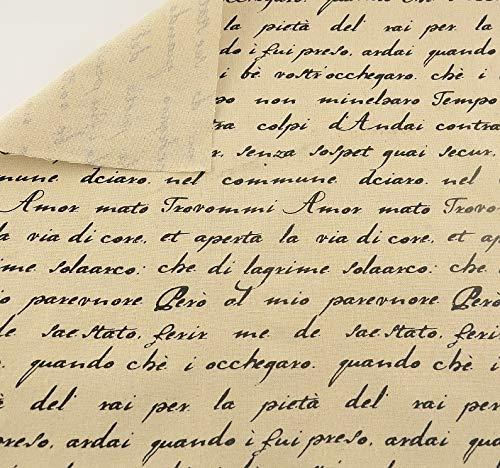 Tela para costura o tapizar con citas y palabras en italiano de textura de calidad resistente y diseño ideal NOVEDAD...