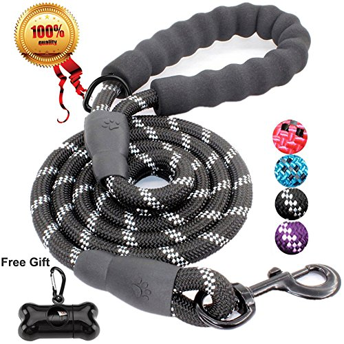 Jbyamuk 1,5 m strong dog guinzaglio con comoda impugnatura imbottita e altamente riflettente fili per cani di taglia media e grande (nero)