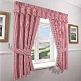 Gingham Check Kitchen Curtains - Red White (46