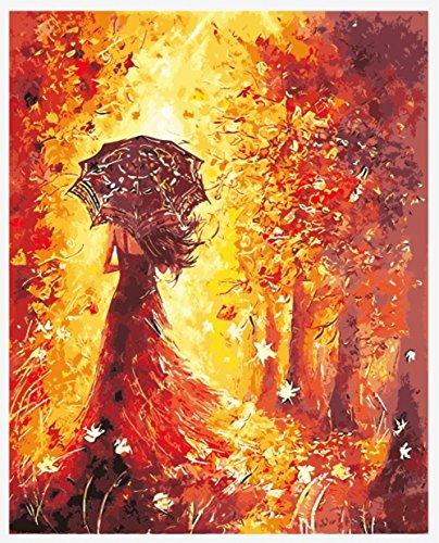 hlen Kits || rot Kleid Mädchen Rücken Regenschirm Golden Maple Leaves 50x 40cm || Malen nach Zahlen, DIGITAL Ölgemälde, Framed (Star Trek-geburtstag Karten)