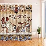 GoHEBE 3d-Digital-Ägypten Antike Ägyptische Götter pharaohs Schimmel resistent Duschvorhang, wasserdicht, Polyester, Stoff-Dekoration, mit Haken: 71x 71cm