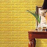 hunpta PE Mousse Papier peint en 3D Bricolage Autocollants muraux Décor mural en relief Brique en pierre (jaune)