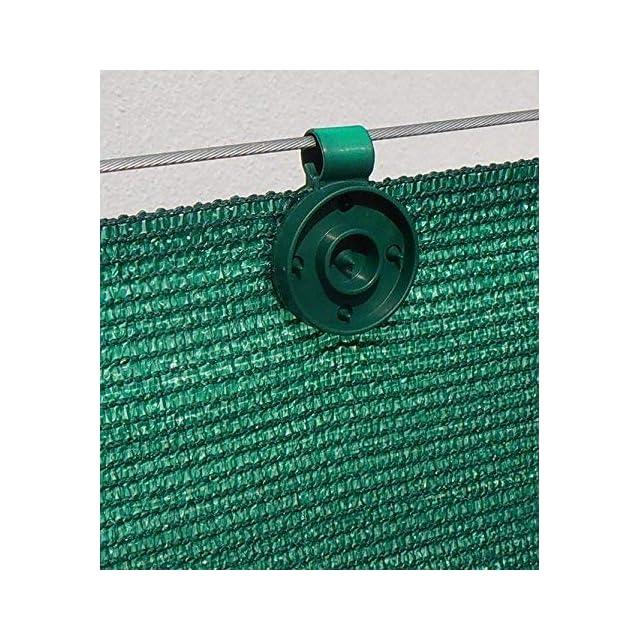 20 clips de fixation trait/és anti-UV pour brise vue de 90 /à 350g//m2 Lot de 60 pi/èces, Noir Vert