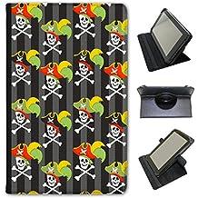 Mania de pirate avec trésor et les perroquets en simili cuir Snuggle Étui Coque Sac avec support de visionnage pour tablettes Linx Linx 810B 8 inch Skulls Wearing Captains Hat