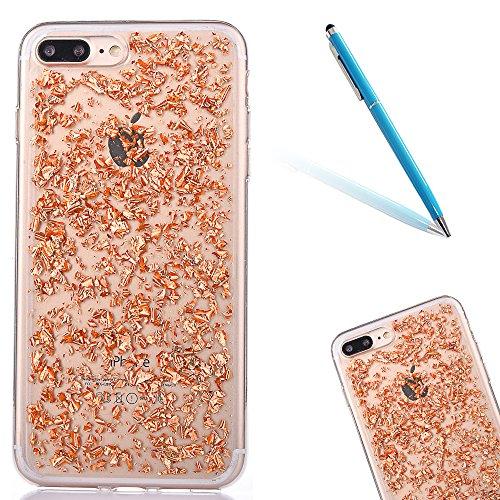 """iPhone 7Plus Handyhülle, iPhone 7Plus Liquid TPU Case, CLTPY Kreativ 3D Fließen Flüssig Bling Schwimmend Treibsand Herz, Glanz Shiny Kristallklar Schale Etui für 5.5"""" Apple iPhone 7Plus (Nicht iPhone  Champagne-Gold"""
