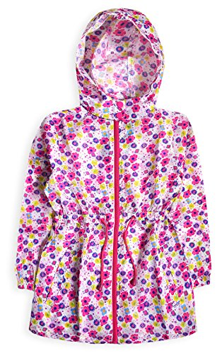 Generic Girls Lightweight Printed Water Resistant Hooded Jacket Floral 9-10 Years