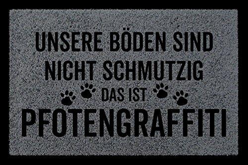 SCHMUTZMATTE Fußmatte PFOTENGRAFFITI Hund Tierisch Türmatte Geschenk Einzug Dunkelgrau