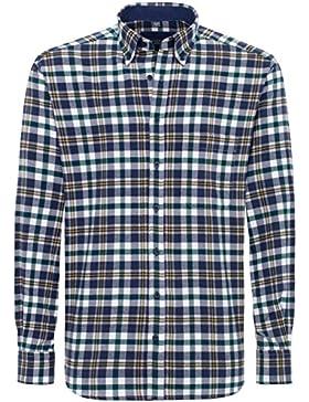 Eterna Herrenhemd Langarm Comfort Fit Blau Grün Gelb kariert Freizeithemd Flanell Baumwolle Hemd Warme Hemden...